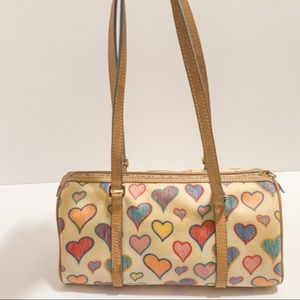 Dooney & Bourke Heart Embossed leather/canvas tote